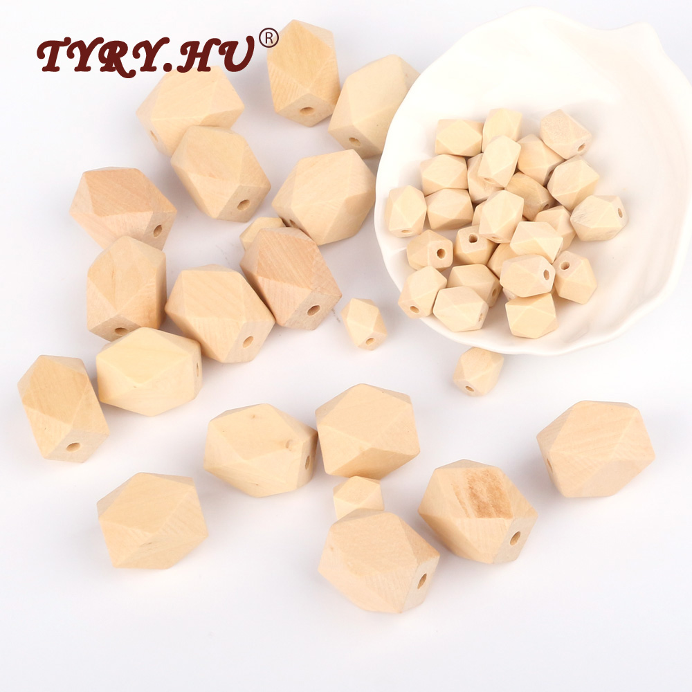 TYRY.HU 13/27mm Natural Long Hexagon Wooden Beads 50Pcs Non-Toxic Chewable Beads Wooden Teether Baby Dental Nursing Products