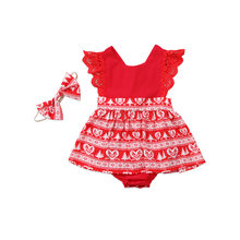 b063ce5a077 Emmababy Family Matching Outfits Christmas Baby Girls Toodler Kids Xmas  Lace Romper Dress Party Dresses Gift