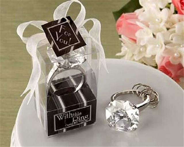 Wholesale 50pcs Lot Ring Diamond Keychain Wedding Favors And Gifts