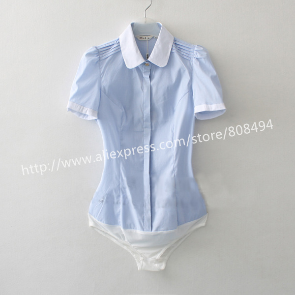 Мода г. Для женщин летние Блузки для малышек Повседневное короткий рукав тонкий небольшой полосатый офисные Средства ухода за кожей рубашка для дам сусла Топы корректирующие S-XL - Цвет: Синий