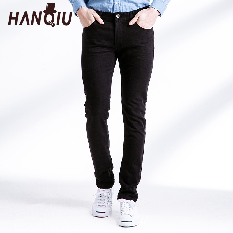 HANQIU 2017 Jeans pant Men New Arrival Solid Mid-Waist mens Jeans  Pant Casual Strechy trousers Slim Fit Male Denim Pants jeans men s blue slim fit fashion denim pencil pant high quality hole brand youth pop male cotton casual trousers pant gent life