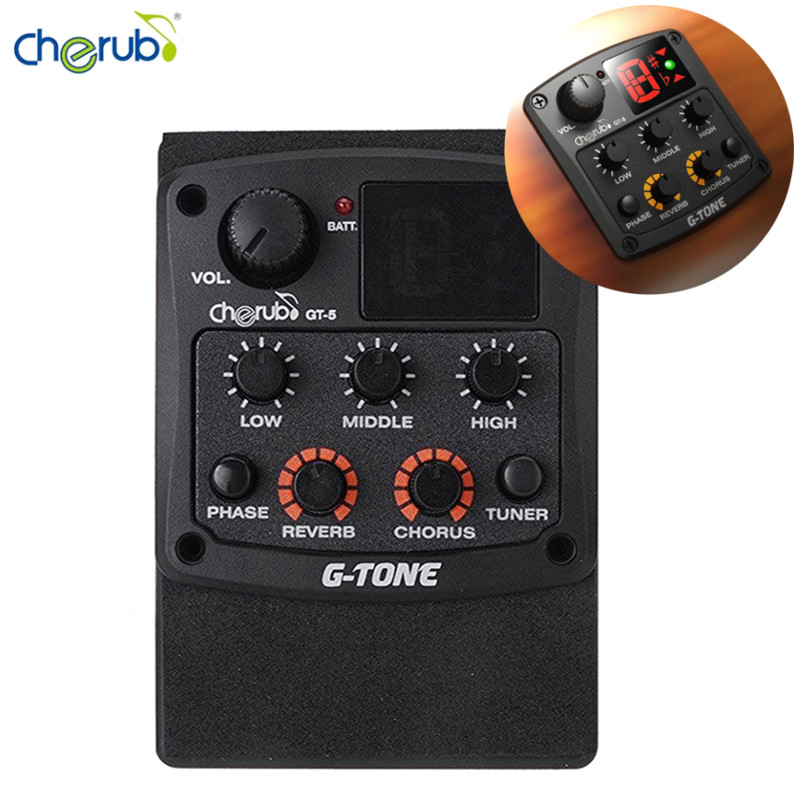 Cherub G-Tone GT-5 Acoustic Guitar Preamp Piezo Pickup 3-Band EQ with Built-in Chromatic Tuner and Phase/Reverb/Chrous Effects 4 band eq 7545 guitar piezo preamp amplifier equalizer tuner for acoustic guitar comp parts