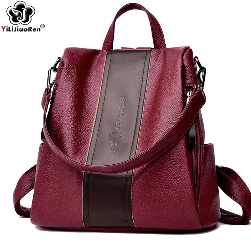 Fashion Panelled Antitheft Backpack Women 2019 Luxury Brand Leather Backpack Female Large Capacity School Bag Mochila Feminina kelly bag