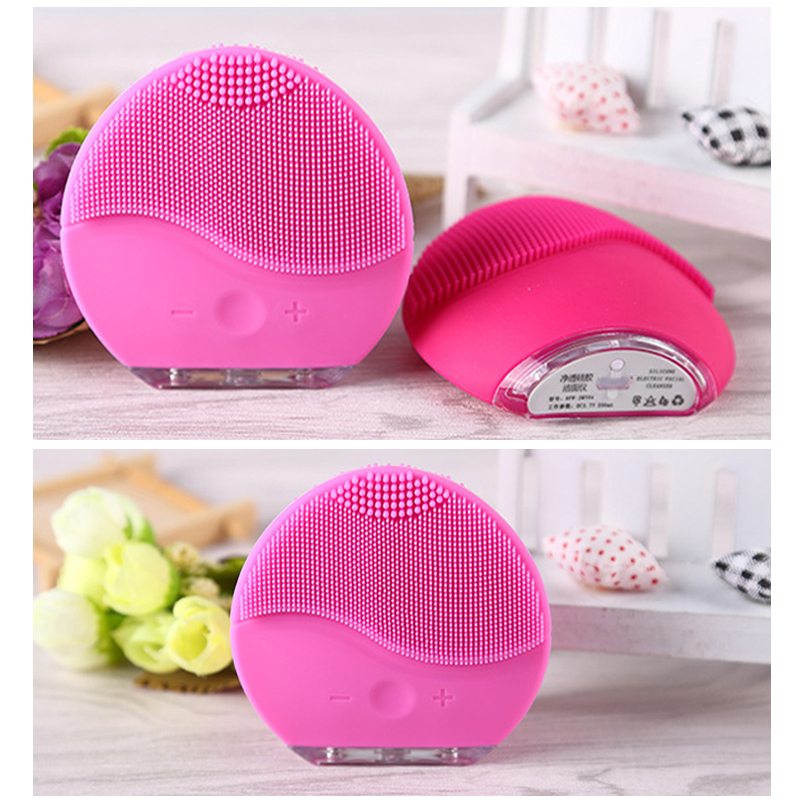 Dropshipping Electric Facial Cleansing Brush Silicone Sonic Vibration Mini Cleaner Deep Pore Cleaning Skin Massage face in Face Skin Care Tools from Beauty Health