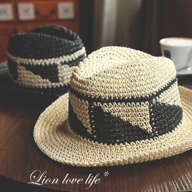 Nueva moda de verano de paja de ala grande sombreros de playa para mujeres de sol sombreros Sunbonnet femenino del envío gratis SDDS-025
