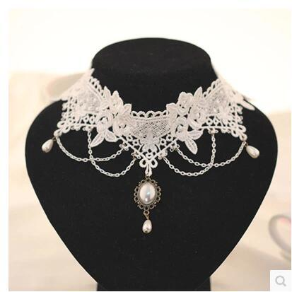 White Lace Bride Necklace Decoration Fashion  Neck Chain  Important Occasion