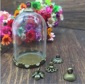 50sets/lot 38*25mm tube glass globes bronze crown tray 8mm beads cap glass vial pendant necklace pendants handmade glass bottle