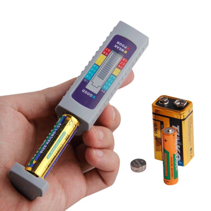 Тестер аккумуляторной батареи, цифровой универсальный тестер емкости аккумуляторной батареи для AA/AAA/1,5 В 9 В, литиевая батарея, блок питания...