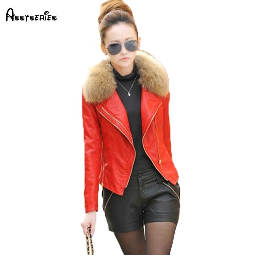 free shipping 2018 new arrival womens leather jacket female coats with fur collar leather clothing women Plus size M-4XL 198