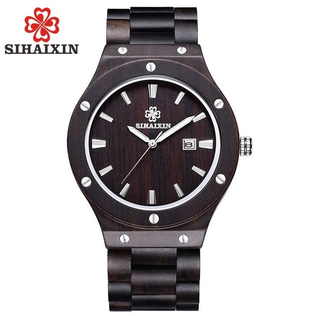 Reloj de madera de sándalo SIHAIXIN fecha con caja de uñas reloj masculino Japón cuarzo como reloj de bambú Natural de lujo de marca superior para hombre regalo