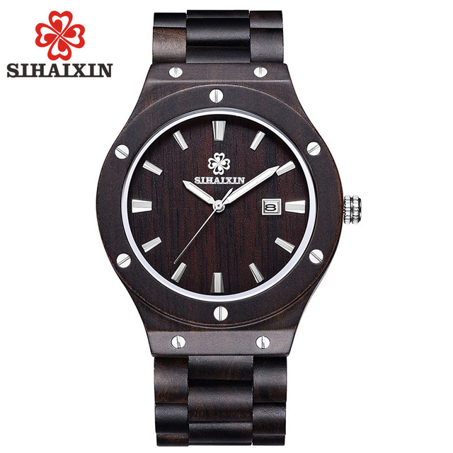SIHAIXIN Sandalwood Wood Watch Date With Nail Case Clock male Japan Quartz As Top Brand Luxury Natural Bamboo Watch Men Gift