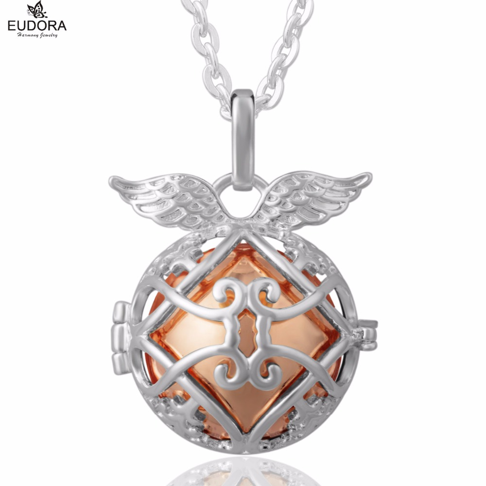 Angel Caller Wing Pendants Copper Metal Harmony Bola Ball Pendant Necklace Jewelry fit Eudora Belly Bola Ball for Pregnant