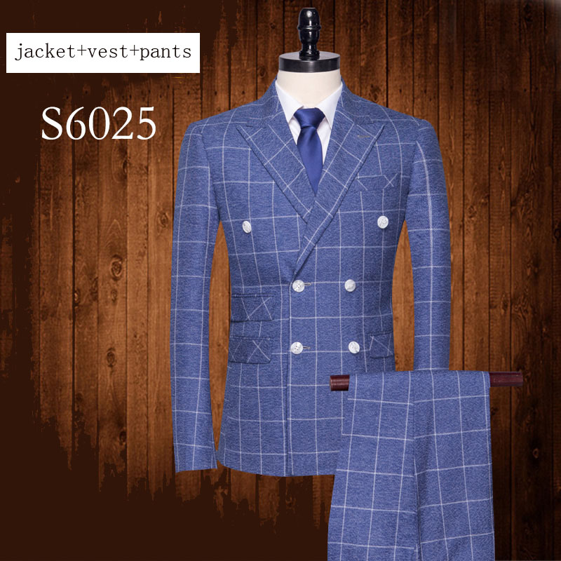 New Men banquet Suits Blue Plaid Dress Double Breasted Formal high quality fashion jacket+pant+vest plus size MLXL2XL3XL4XL5XL-in Suits from Men's Clothing    1