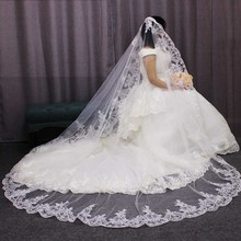 High Quality Neat Lace Mantilla Bridal Veil One Layer Long White Ivory Wedding with Comb Voile Mariage Bride 2019