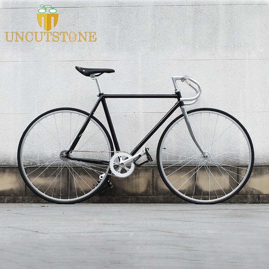 700C Fixie Bike  Retro Steel Frame Sliver Track Single Speed Bike 52cm  Fixie Bike Vintage Bicycle  DIY Frame