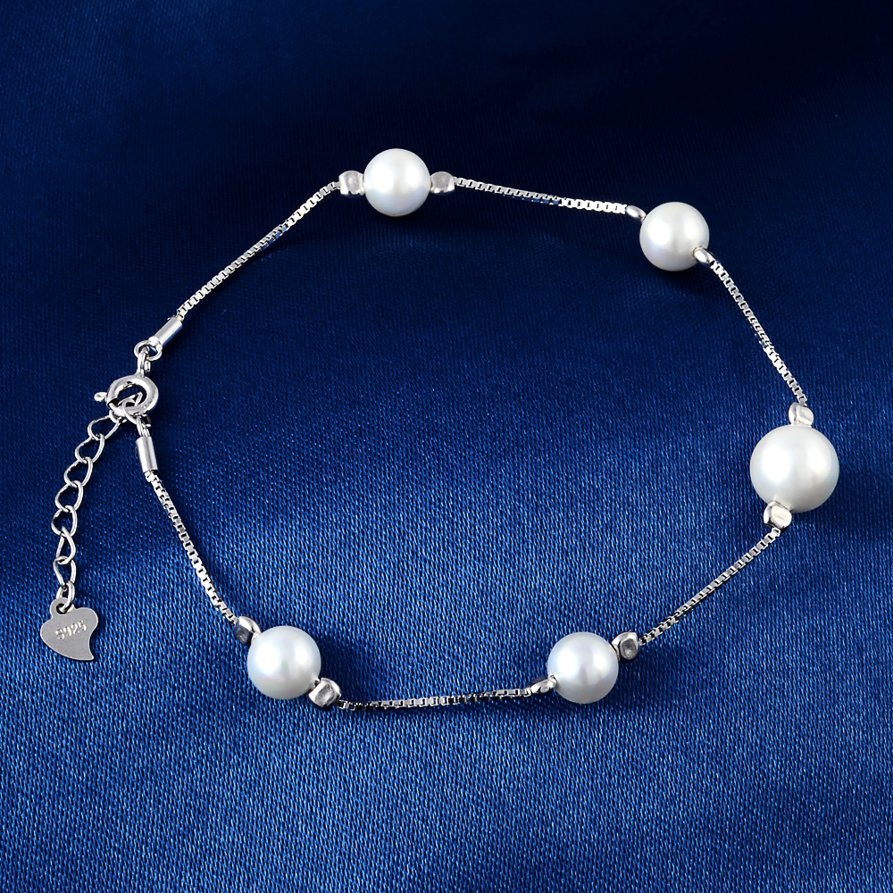 925 Sterling Silver Bracelet Natural Freshwater Pearl Bracelet Woman Jewelry Charm Bracelet in Bracelets Bangles from Jewelry Accessories