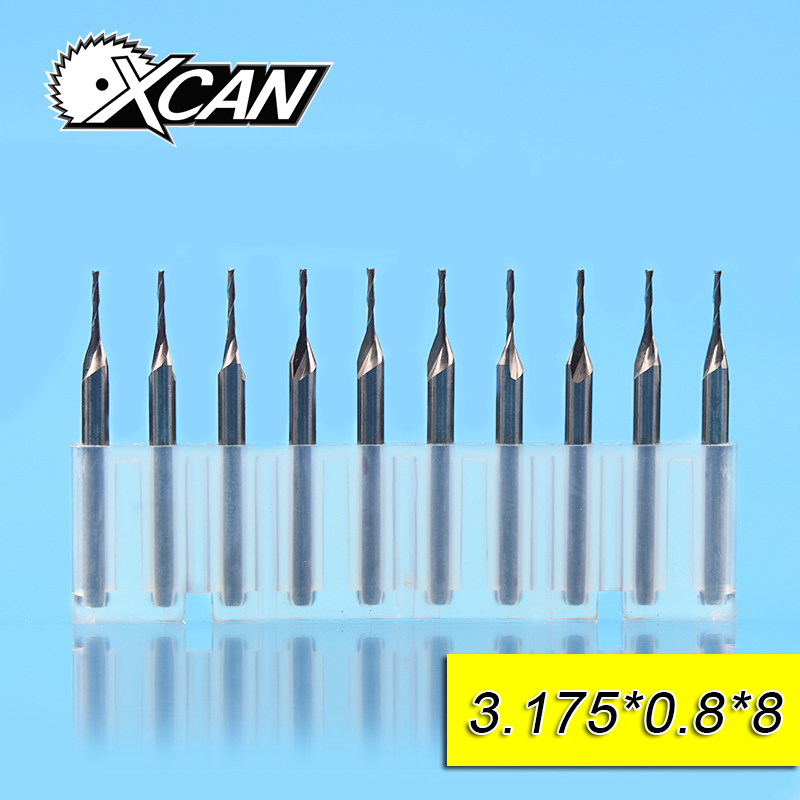 XCAN 10pcs 0.8mm 2 flute spiral Router bit tungsten steel CNC end mills with 8mm cutting length 3.175shank milling cutter 10pcs 2 0 mm 2mm single flute carbide spiral end mills router bit 8mm cel