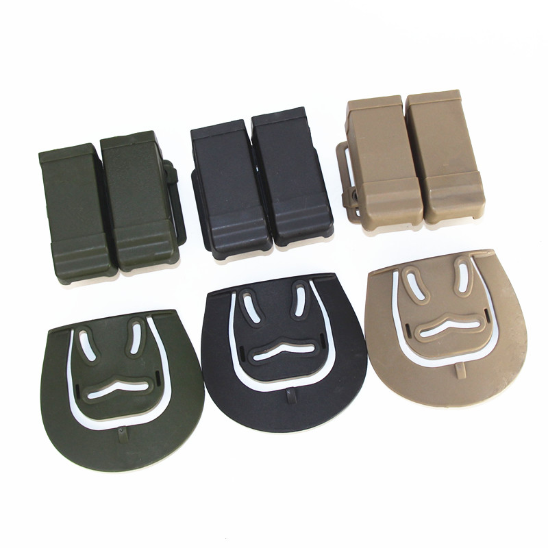 CQC Double 2 Magazine Belt Pouch Tactical Glock M9 USP 1911 Pistol Holster Belt Pouch Airsoft Dual Double Belt Loop Mag Pouch