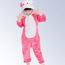2240d8de72f48 Pyjama filles Flanelle Bonjour bande dessinée animaux Chat pyjamas pour Fille  enfants d hiver pas cher pyjama bébé vêtements de .