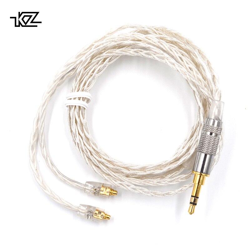 KZ AS10 KZ ZS10 ZST/ES3/BA10 Dédié Câble 2pin 0.75mm Connecteur Amélioré Argent Plaqué Câble Utiliser pour KZ ZS10/ZSR/ZSN KZ ES4