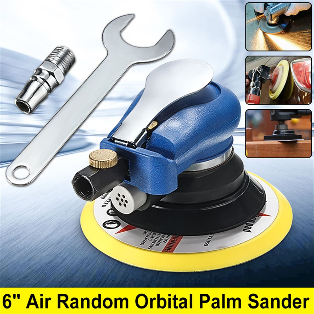 6 Inch 10000rpm Round Air Orbital Sander Random for Sander 150mm Dualable Action Auto Body Orbit DA Sanding Hand Tool