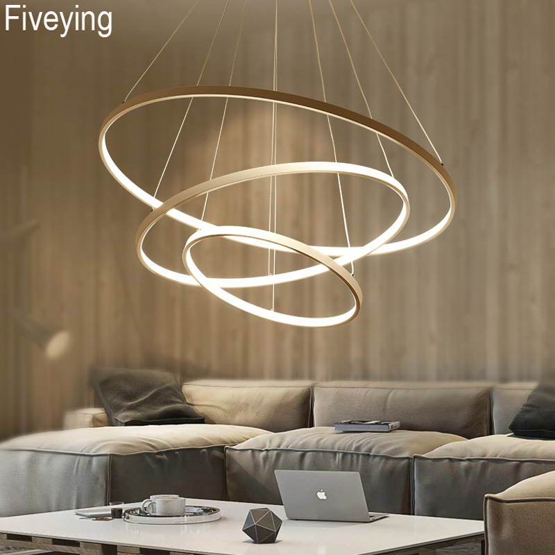 FiveYing Modern LED Pendant lights 3/2/1 Circle Rings acrylic aluminum body for living room dining room Hanging Ceiling Fixture modern k9 crystal rings chandeliers lights led ceiling fixture for living dining room lamp restaurant design hanging lighting