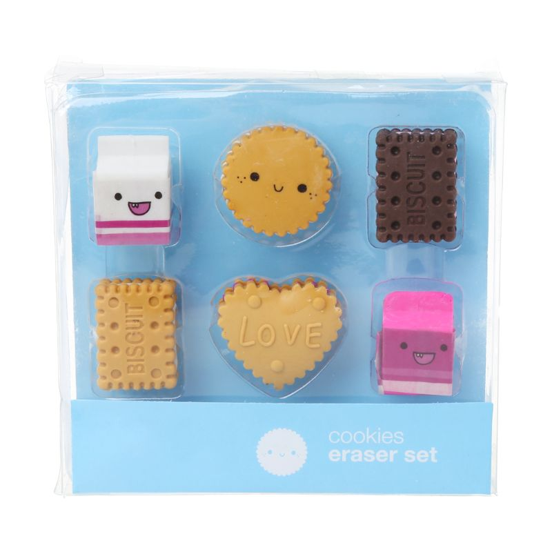 6pcs/set Kawaii Biscuit Milk Rubber Pencil Eraser Kids Student School Stationery