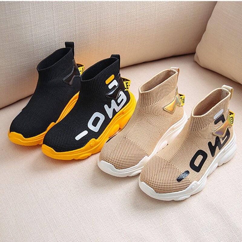 2019 chaussures pour enfants haut maille baskets souples toute la saison enfant tricot mode entraîneur décontracté chaussures détail spectacle
