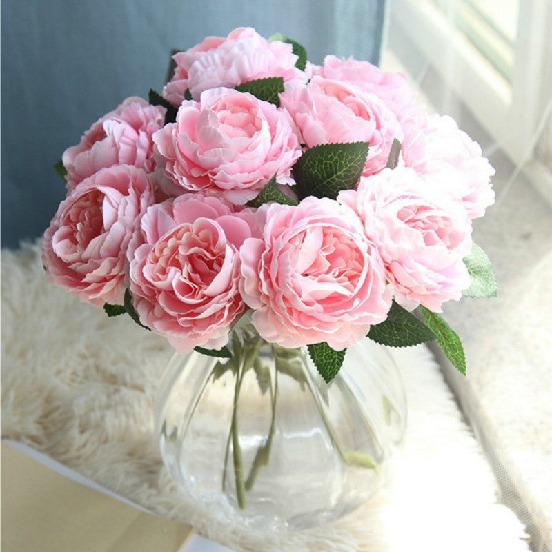 Artificial Fake Western Rose Flower Peony Bridal Bouquet Wedding Home Decor