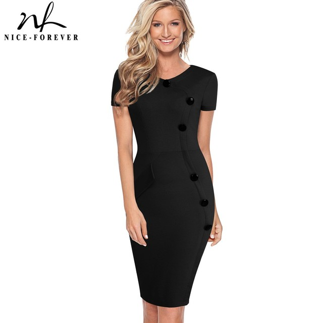 Nice-forever Vintage Elegant Solid Color Wear to Work Button vestidos  Bodycon Women Office Business Sheath Slim Dress 531 501c0c15eeb4