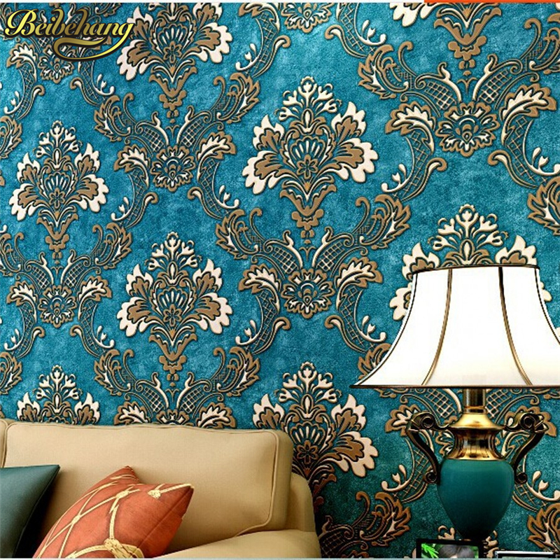 beibehang Europe Damascus non-woven blue wallpaper for walls 3d sitting of wall paper papel de parede 3d for bedroom living room ovw2 036 2m encoder new in box free shipping