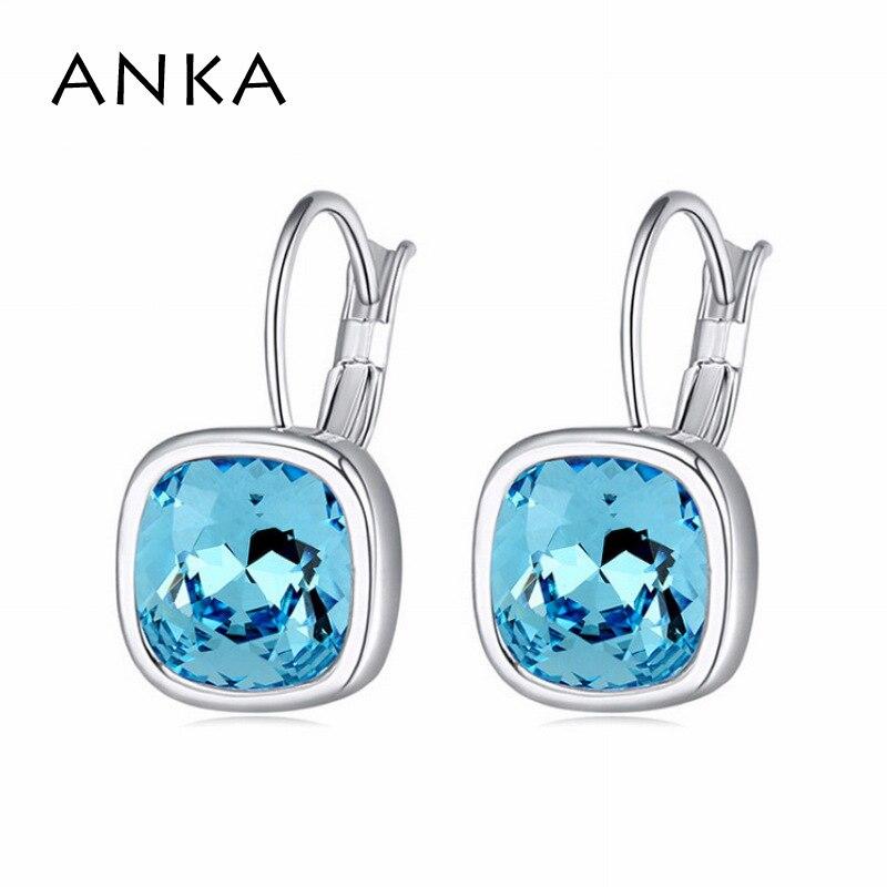 b4c825276c4b Anka moda clásico cuadrado cristal Pendientes rodio plateado Pendientes  para las mujeres cristales de Swarovski  114838