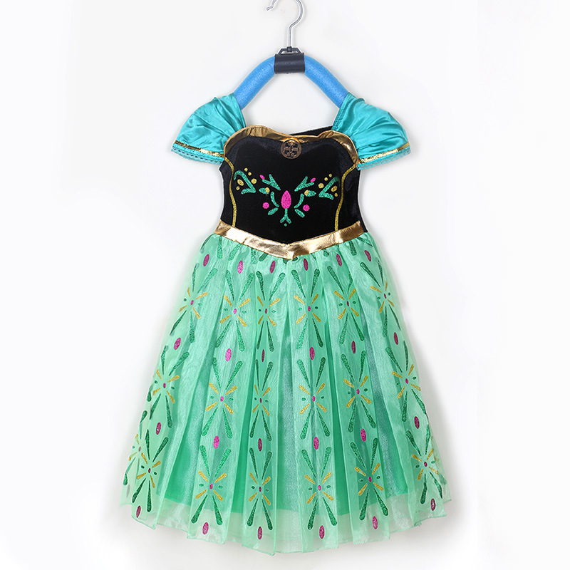High Quality Girl Princess Dresses Princess Children Clothing Anna Elsa Cosplay Costume Kid's Party Dress Baby Girls Clothes elsa dress sparkling snow queen elsa princess girl party tutu dress cosplay anna elsa costume flower baby girls birthday dresses