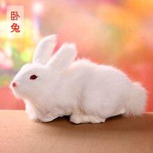 new simulation rabbit toy polyethylene&furs lying rabbits model gift about 20x10x14cm