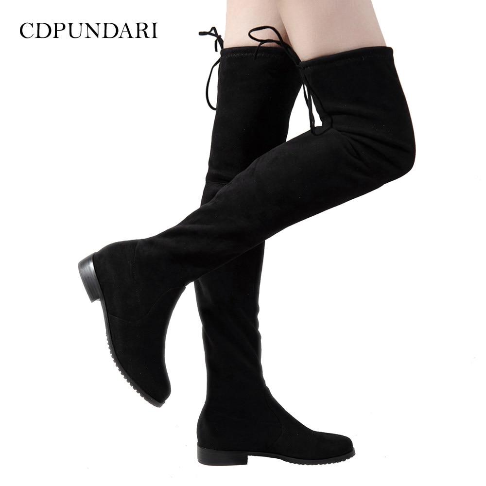 Flat Thigh High Boots Winter Women Over