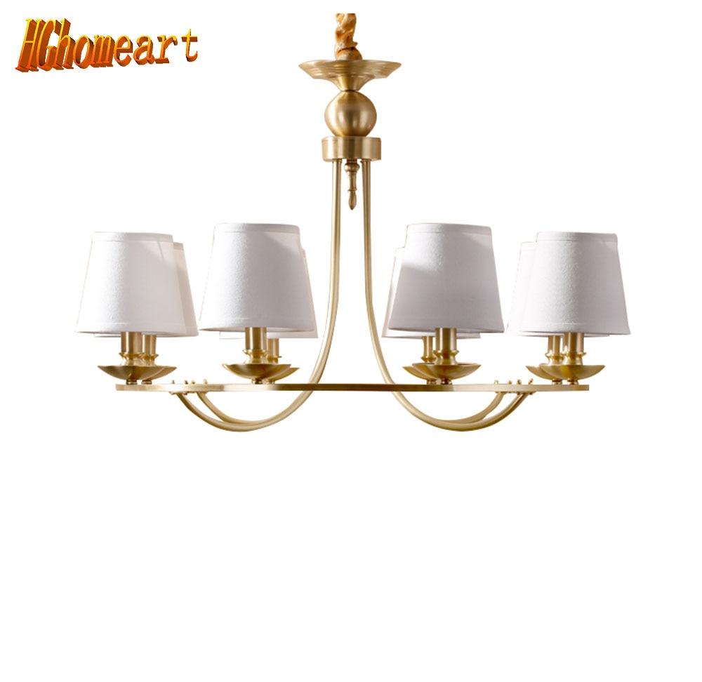 HGhomeart Chandelier European copper chandelier full copper lamp living room bedroom restaurant lights modern chandelier light