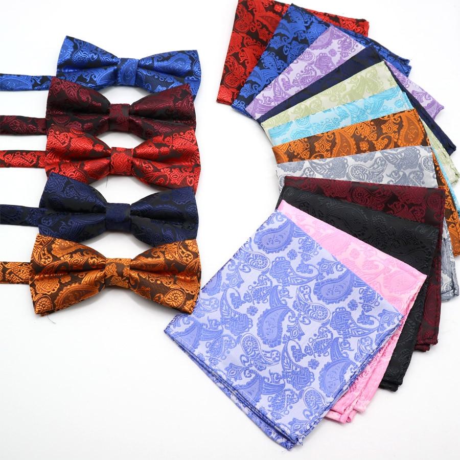 Classic Men's Floral Paisley Pocket Square Bows Tie Set Adjustable Handkerchief Bowtie Sets Wedding Party Necktie Hanky Lot