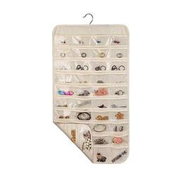 Hanging Jewelry Organizer Double-sided Closet Wall Jewelry Holder Bag with 80 Pockets