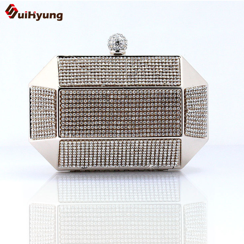 Luxury Party Rhinestone Day Clutches Bling Full Diamond Wedding Handbag Iron Box Purse Good quality Lady