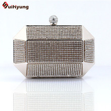 Luxury Party Rhinestone Day Clutches Bling Full Diamond Wedding Handbag Iron Box Purse Good quality Lady Dinner Bag Shoulder Bag