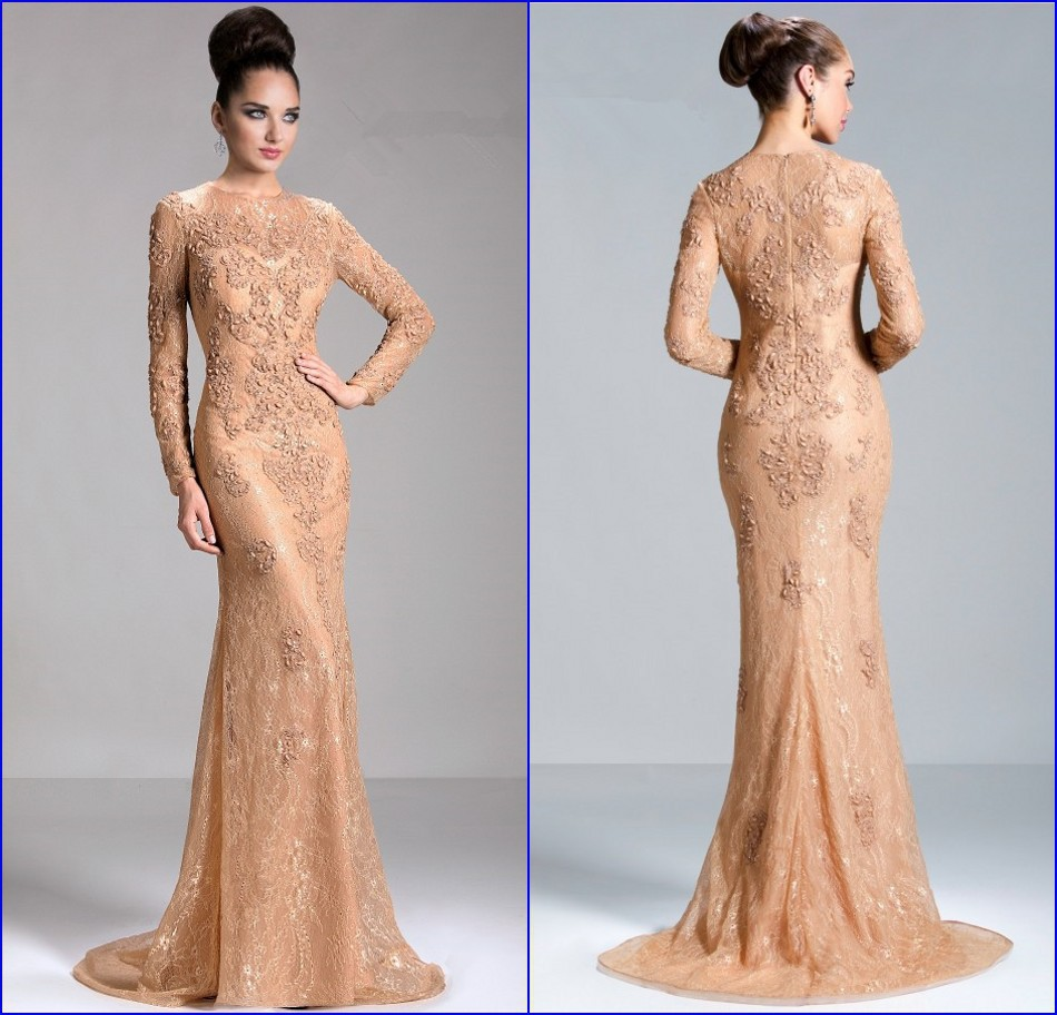 Gorgeous Vestido de renda Hot Sale 2015 Crew Applique Beaded Lace Mother of the Bride Dresses Long Sleeve Formal Evening Dress in Mother of the Bride Dresses from Weddings Events