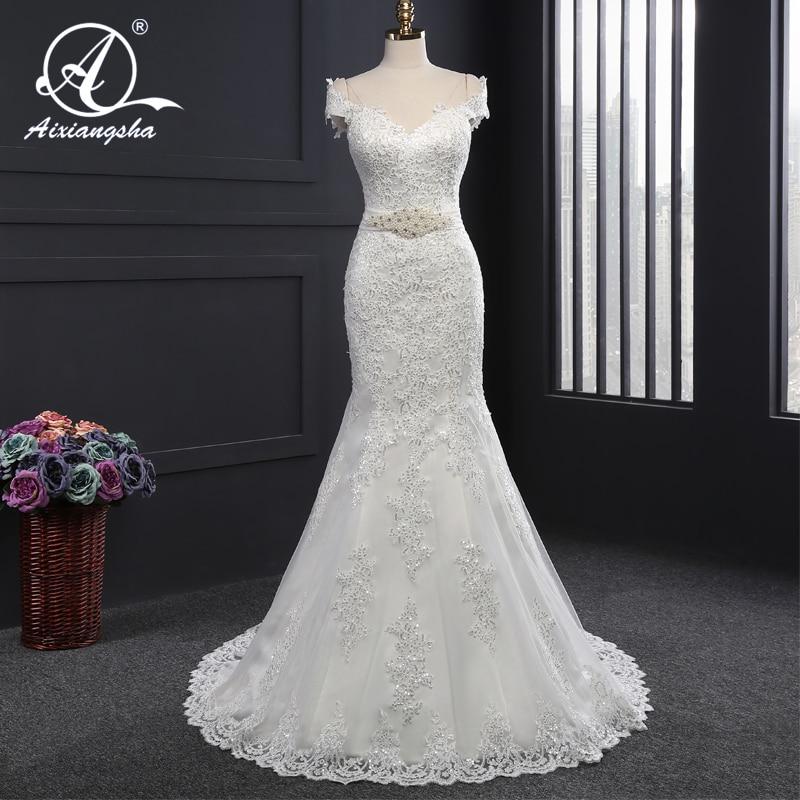 2018 Elegant New Arrival Wedding Gowns Bridal Wedding Dress Bride Vestido de noiva Mermaid Sweetheart Short Sleeves With Train
