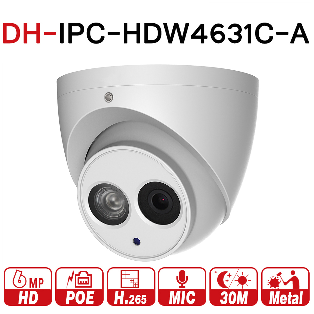 DH IPC-HDW4631C-A 6MP HD POE Netwerk Mini Dome IP Camera Metal Case Ingebouwde MIC CCTV Camera 30 m IR Night vision Van Dahua