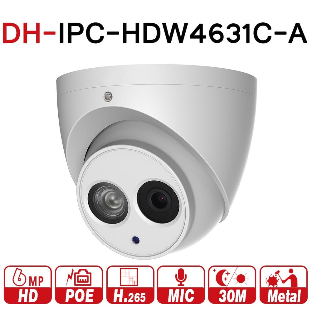 DH IPC-HDW4631C-A 6MP HD POE red Mini domo IP cámara de Metal micrófono incorporado CÁMARA DE CCTV 30 m IR noche visión de Dahua