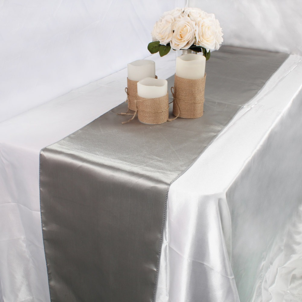 Image 3 - OurWarm 30cm*275cm Wedding Table Runner Satin Table Runners Table Decoration For Home Party Wedding Event Favors Banquet Decor-in Table Runners from Home & Garden