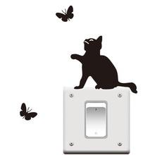 DCTOP 3 pcs/lot Black Cat Catching Butterflies Vinyl Light Switch Sticker Funny Cute Kitty Plane Cartoon Kids Room Wall Stickers