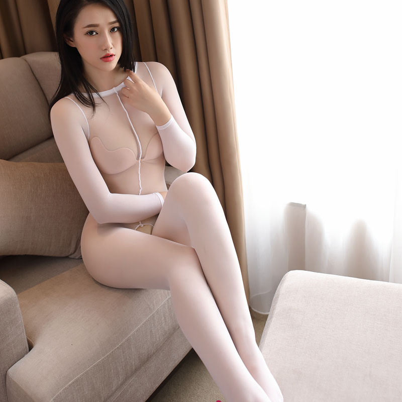 Transparen Core Spun Yarn Silk Long Sleeved Sheers Sexy Transparent Wear Open Crotch Body Suit