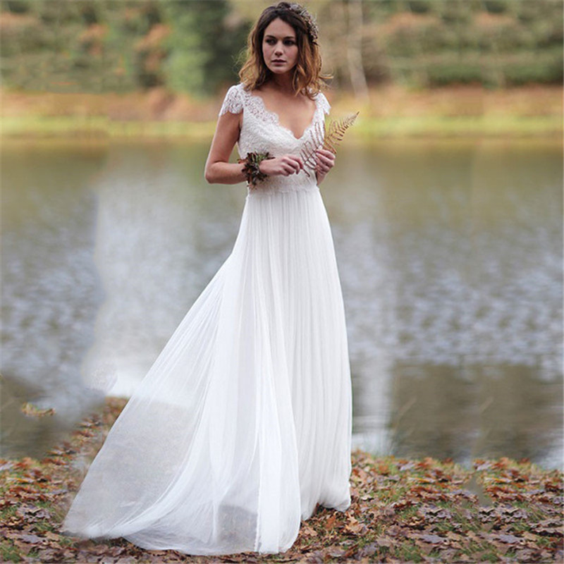 Mousseline De soie col en V Boho plage été robes De mariée 2019 dentelle Applique Cap manches De mariée robes De mariée Illusion Vestidos De Novia