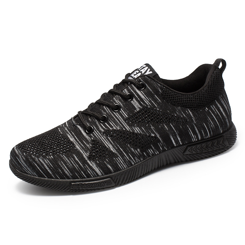 Breathable Men Casual Shoes Canvas Black Lace Up Lightweight Sneakers Walking Chaussure Homme