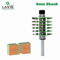 LAVIE 1pc 8mm Shank Brand New 2 Teeth Adjustable Finger Joint Router Bit Tenon Cutter Industrial Grade for Wood Tool MC02036